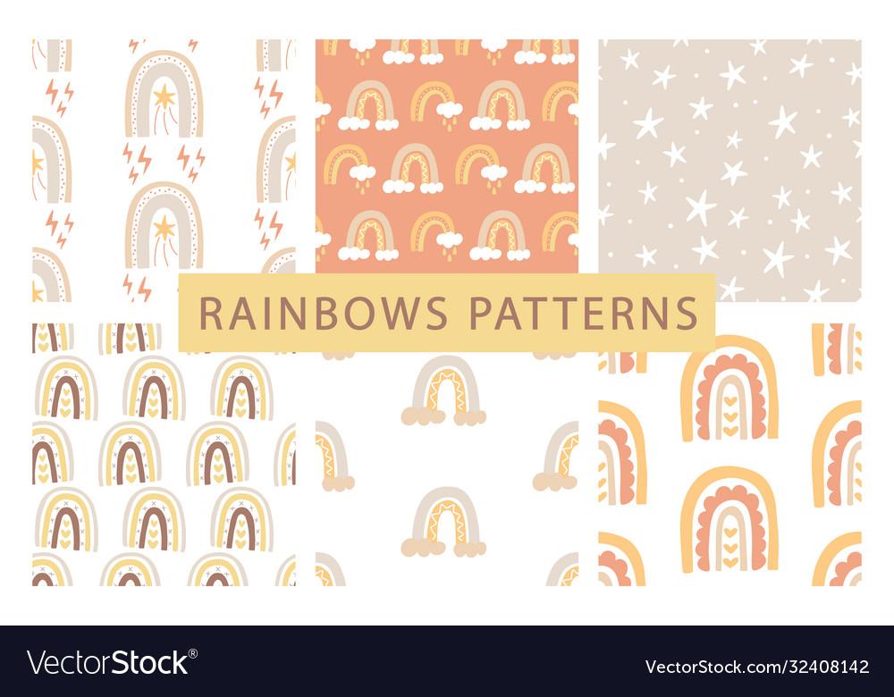 Cute rainbows seamless patterns set