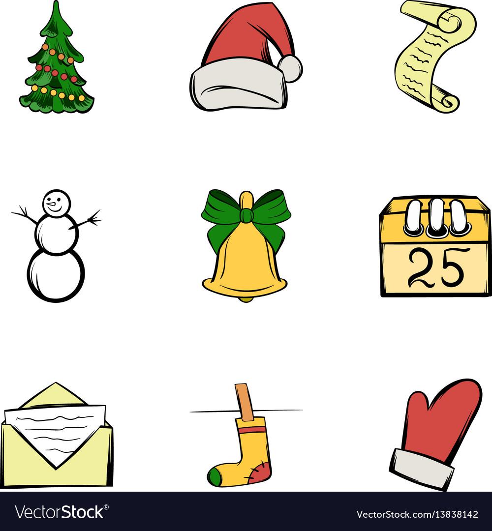 December icons set cartoon style