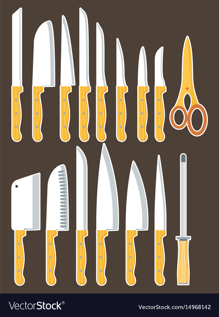 different types of kitchen knives set royalty free vector rh vectorstock com different types of kitchen knife different types of kitchen knife