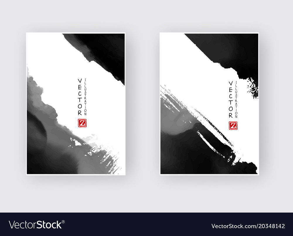 Elegant Brochure Template Design Ink Brush Element