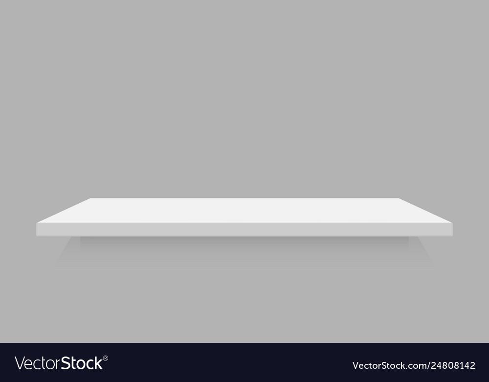 Empty white retail shelf