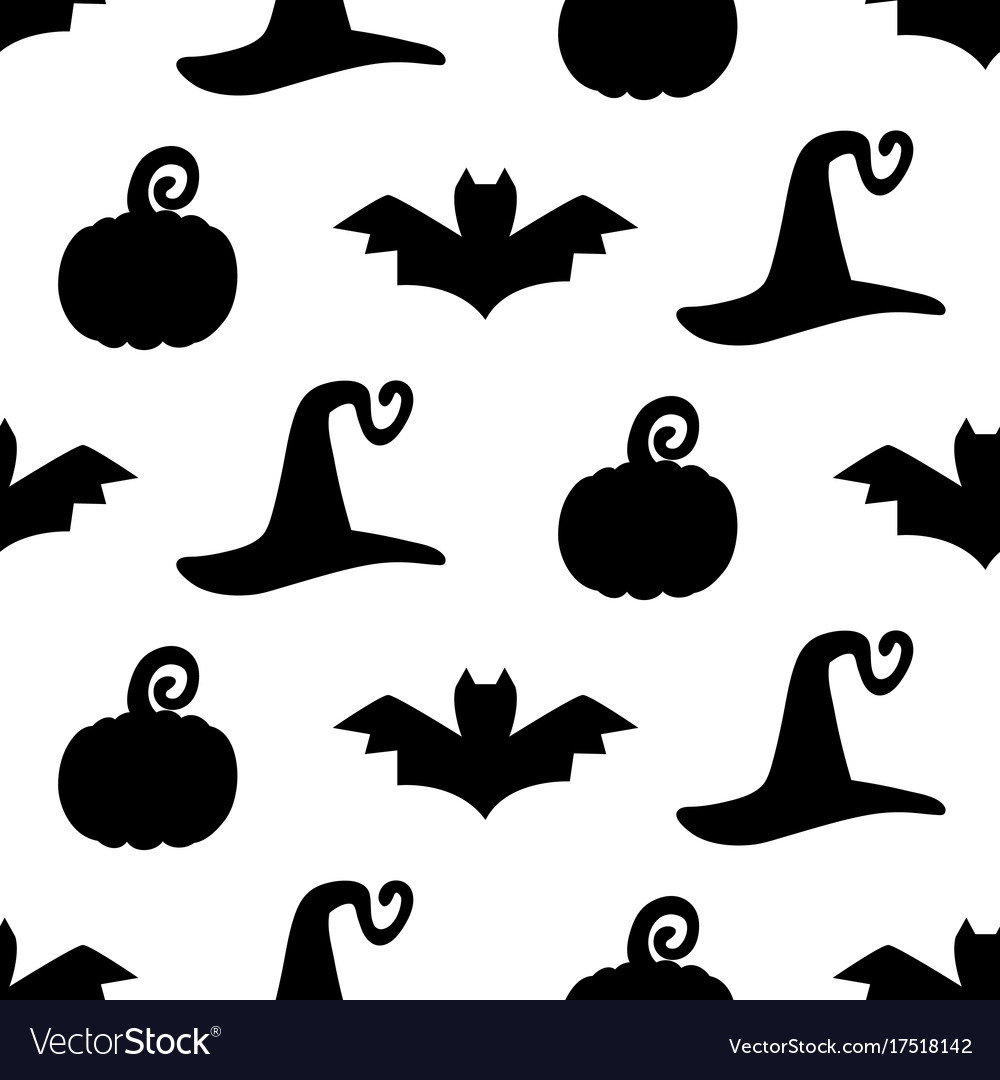 Halloween seamless pattern with silhouettes