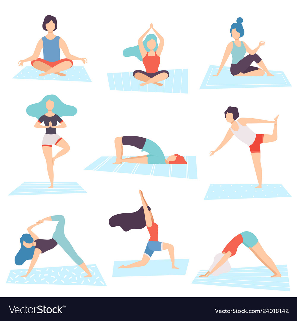 People In Yoga Positions Set Men And Women Vector Image