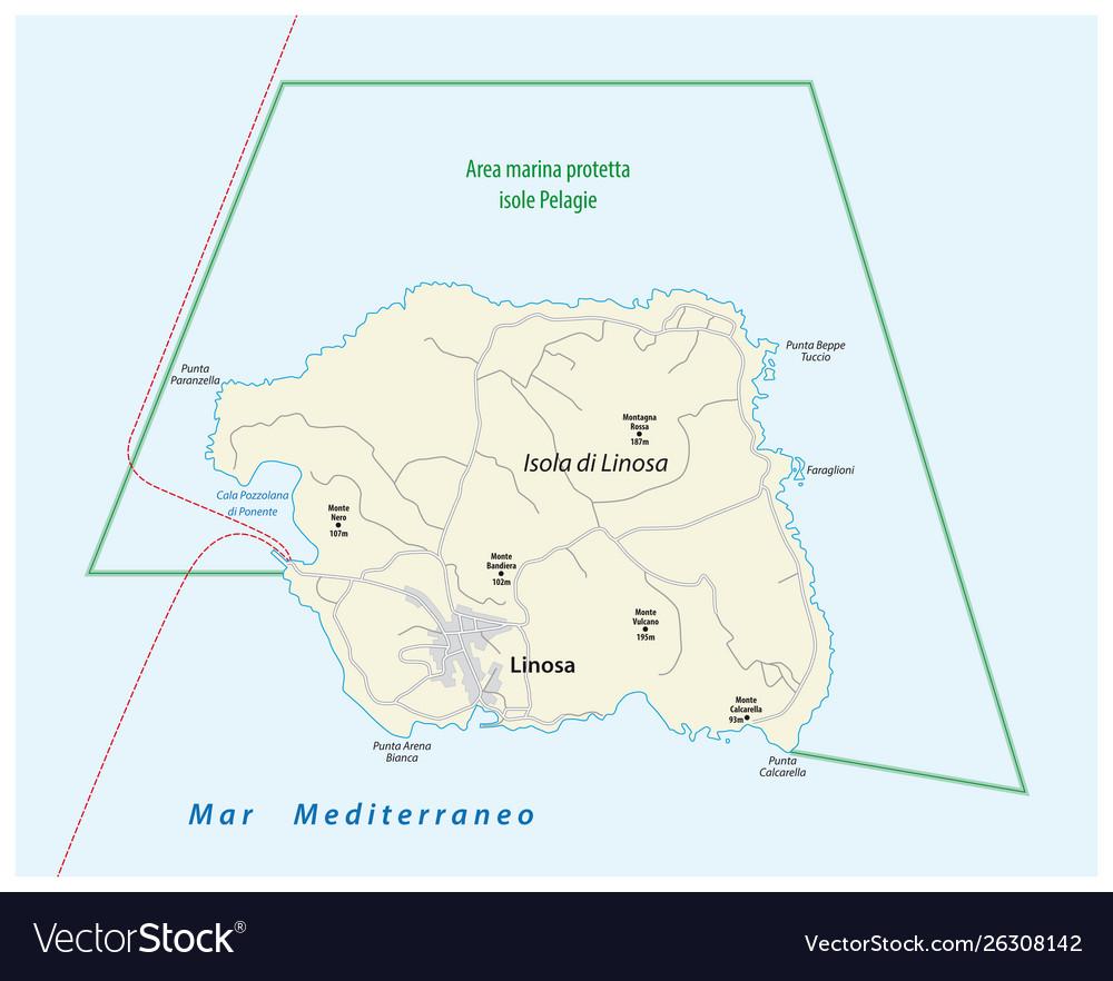 Road Map Of Italy.Road Map Italian Island Linosa