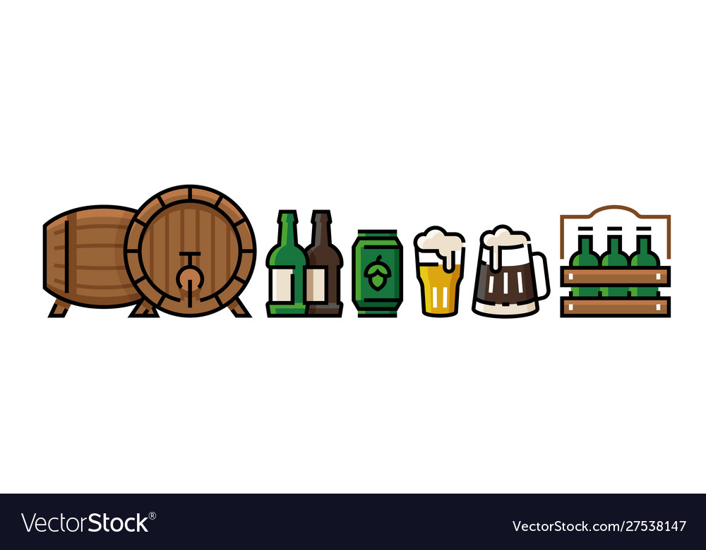 Beer icons bottle pub mug with beer foam can and