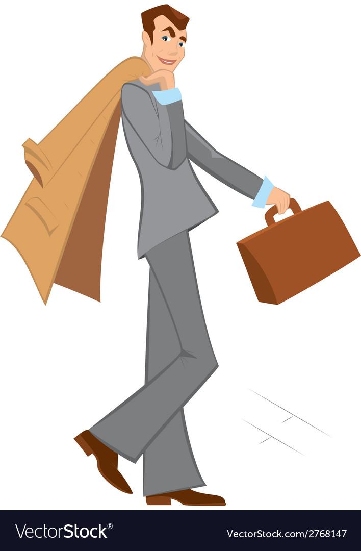 cartoon man with brown briefcase walking vector image rh vectorstock com cartoon person walking png cartoon person walking png
