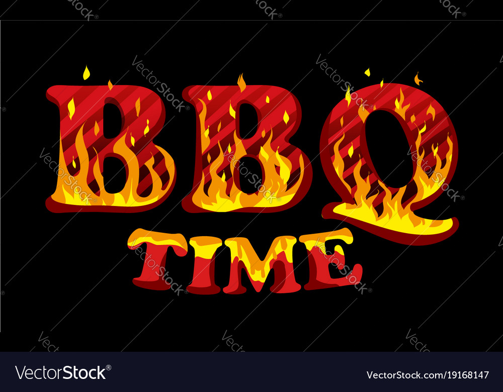 Fire sign bbq time logo design template