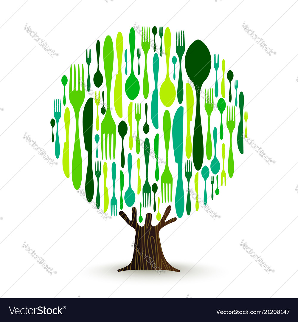 Food cutlery tree for healthy eating concept