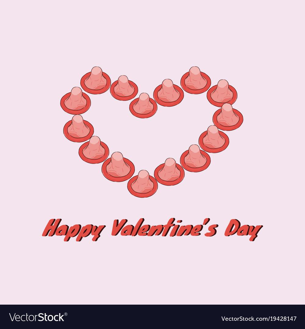 Happy Valentines Day Gift Card Love Condom Vector Image On Vectorstock