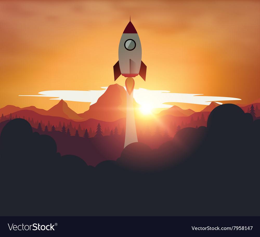 Rocketship on mountain sunset background vector image