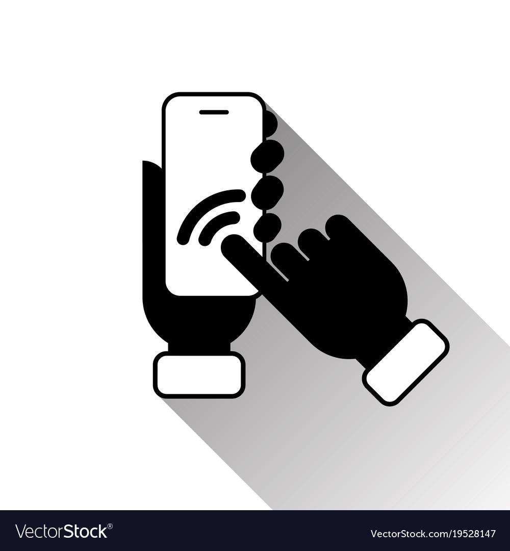 Silhouette black hand touching smart phone screen
