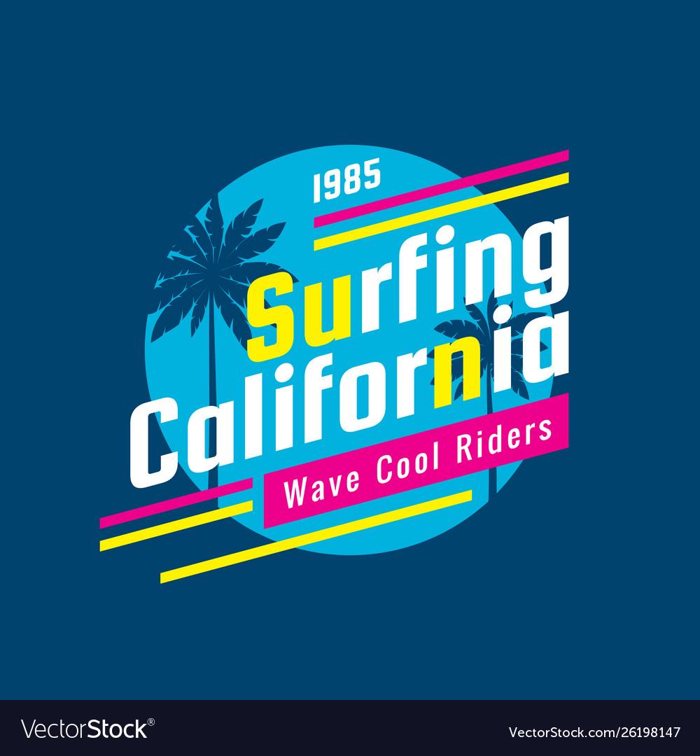Surfing california - concept logo badge