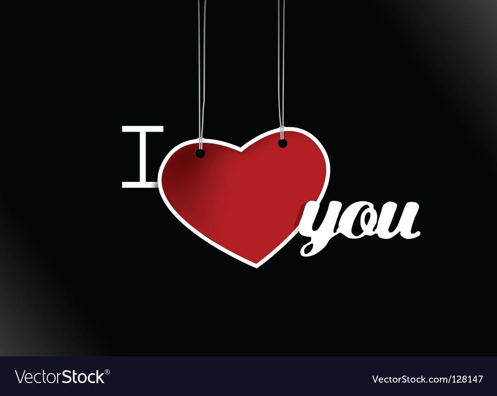 Valentine hanging heart vector image