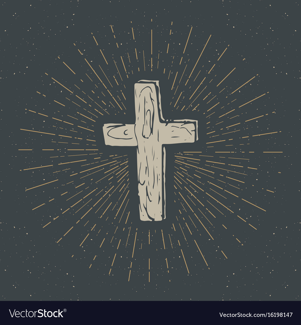 Vintage label hand drawn christian cross