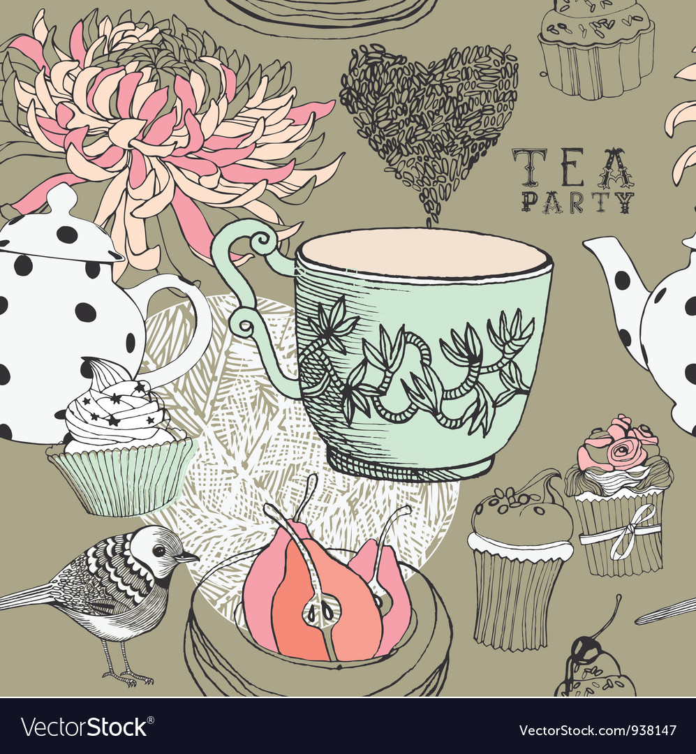 Vintage Tea Party Pattern vector image