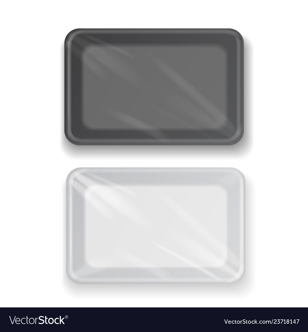 White and black plastic tray container