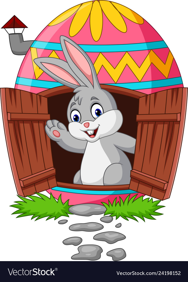 Cartoon bunny with decorated easter eggs house