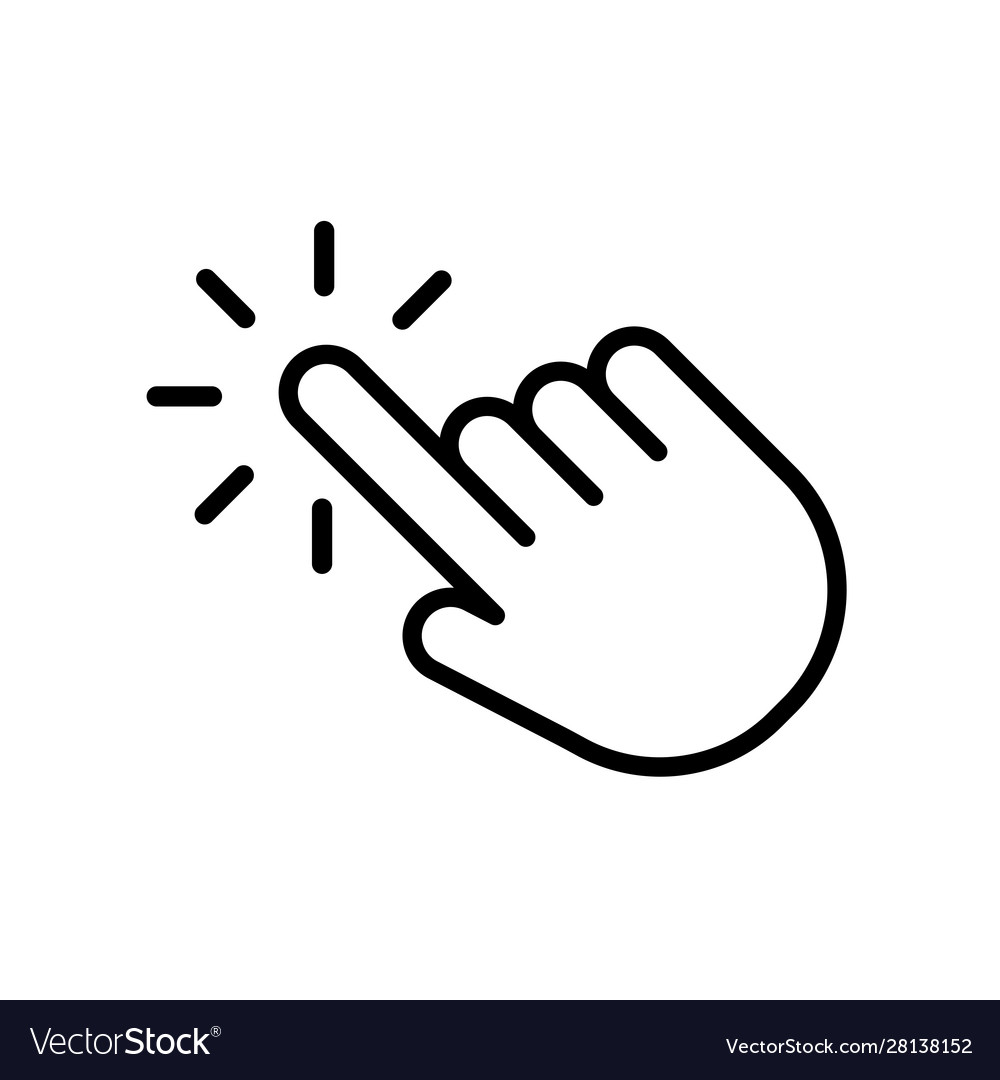 Hand click icon in trendy outline style design