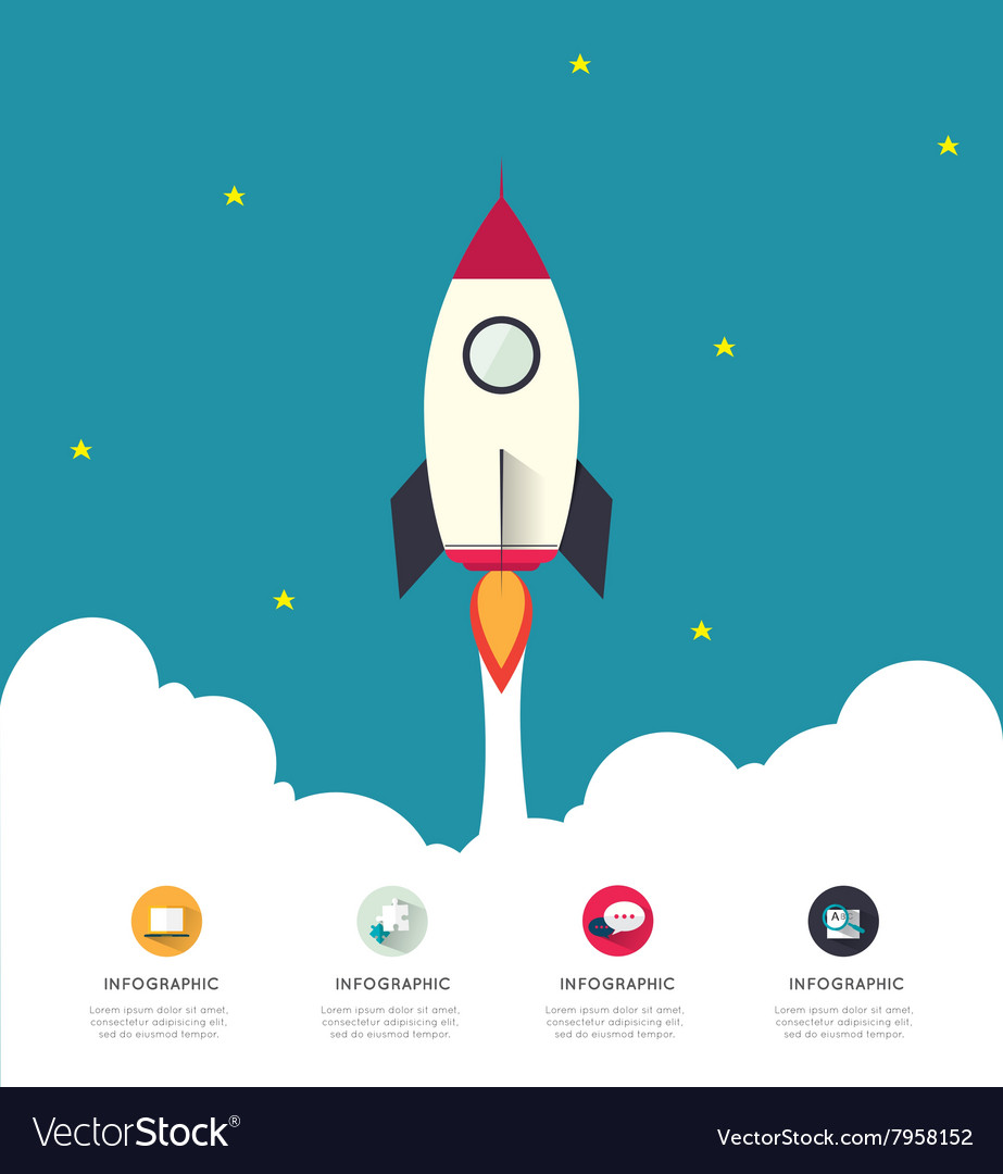 Infographic rocketship for startup concept vector image