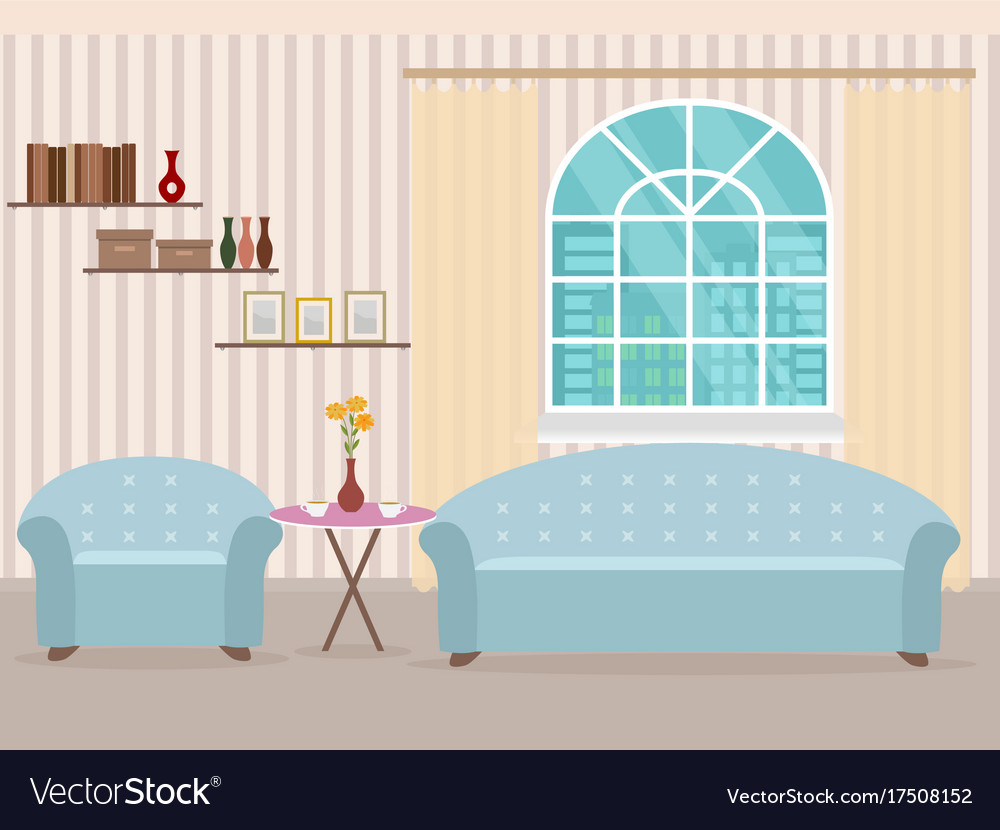 Interior design in flat style of living room with