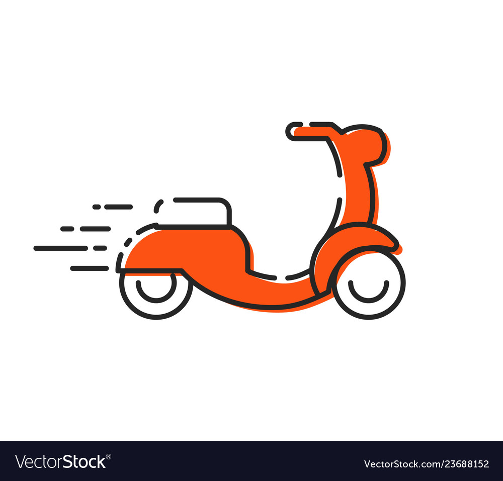 Isolated moped icon outline scooter mbe on white