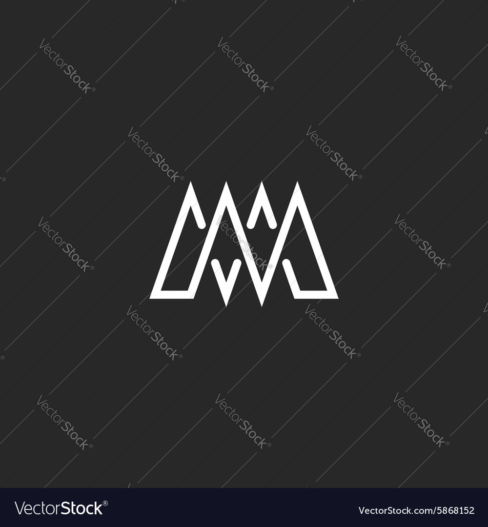 M letter monogram mockup logo intersection thin