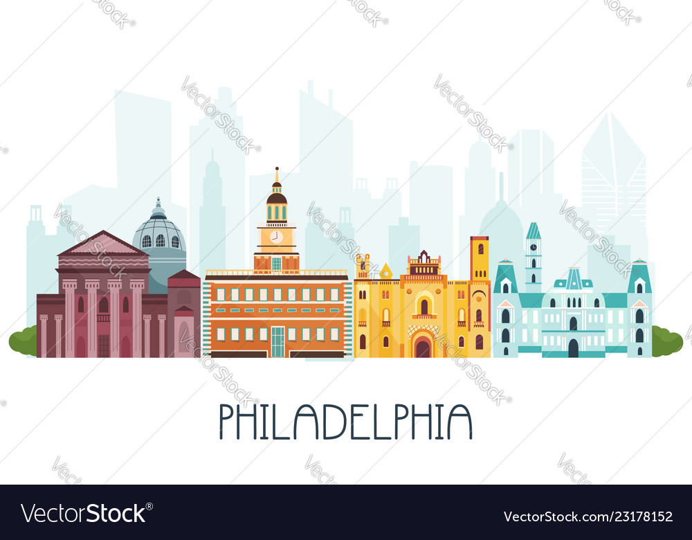 Phyladelphia skyline and famous attractions
