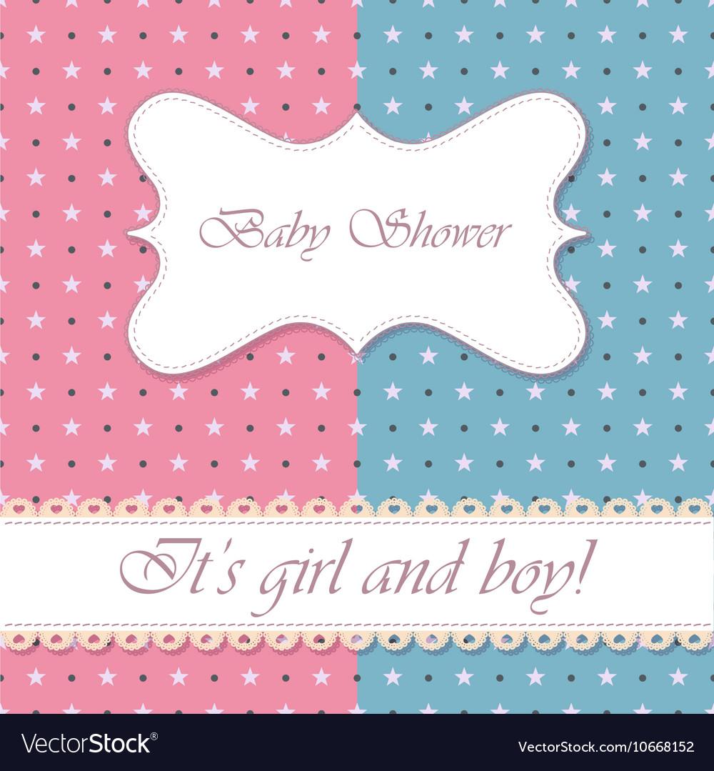 Polka Dot Baby Shower Girl And Boy Vintage Vector Image