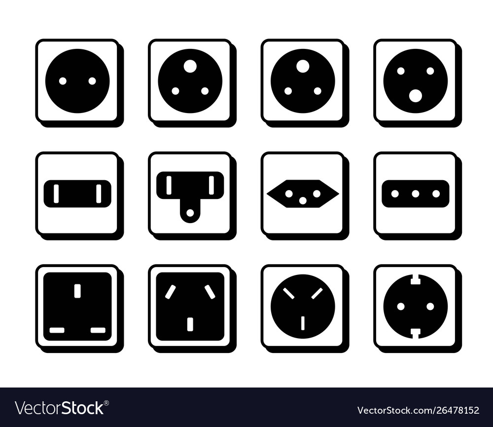 Power socket icon set world standards for