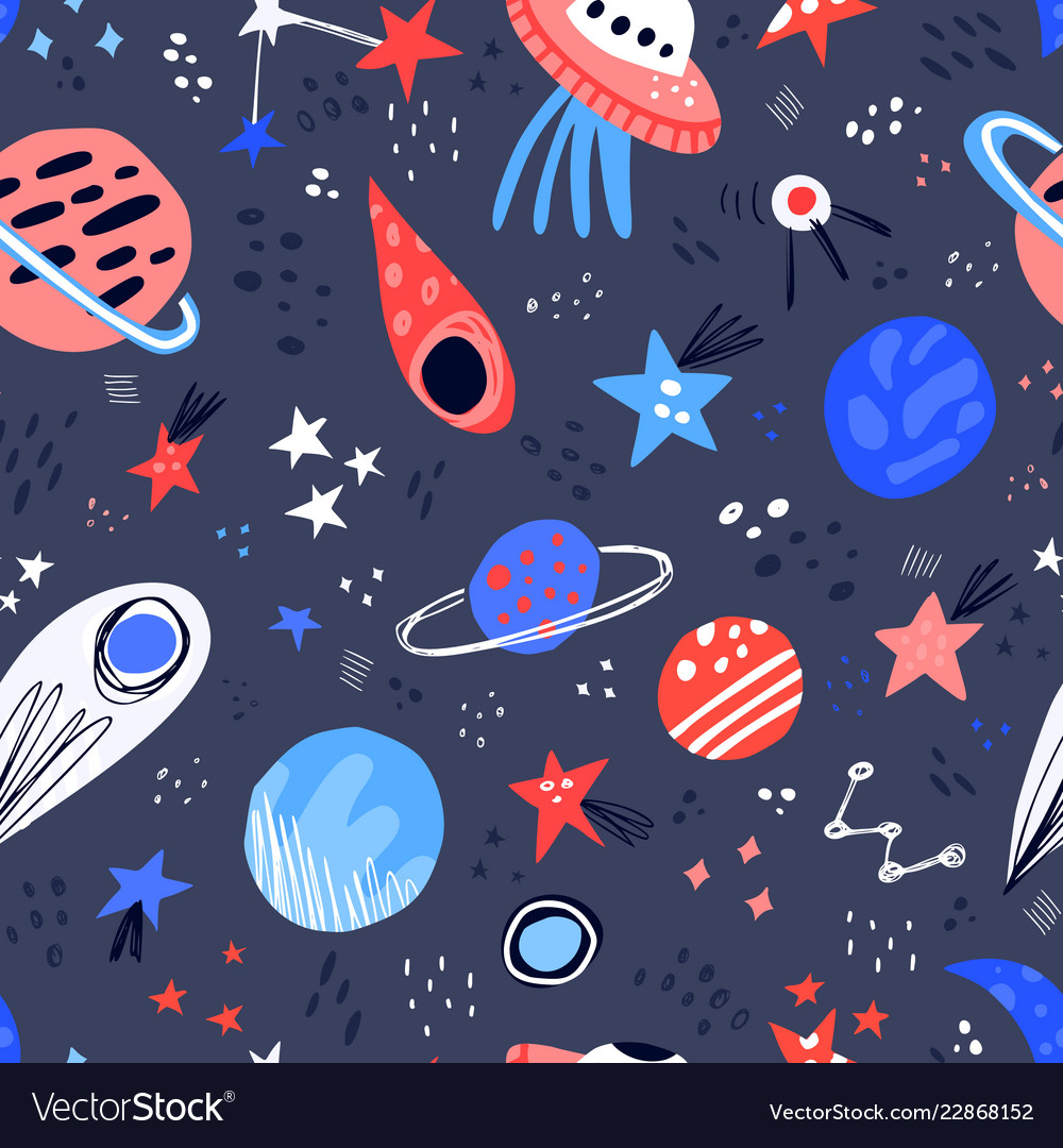 Space hand drawn color seamless pattern