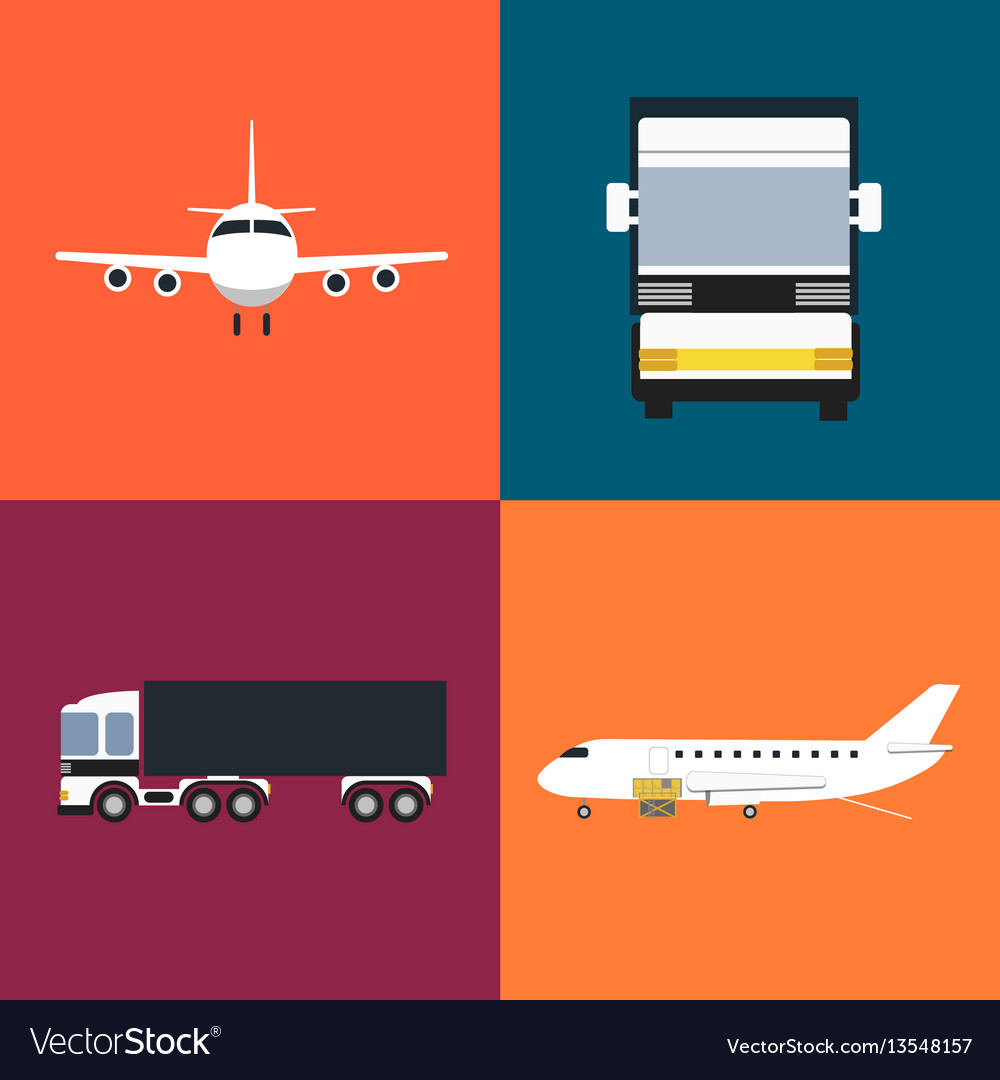 Commercial cargo transportation icons set