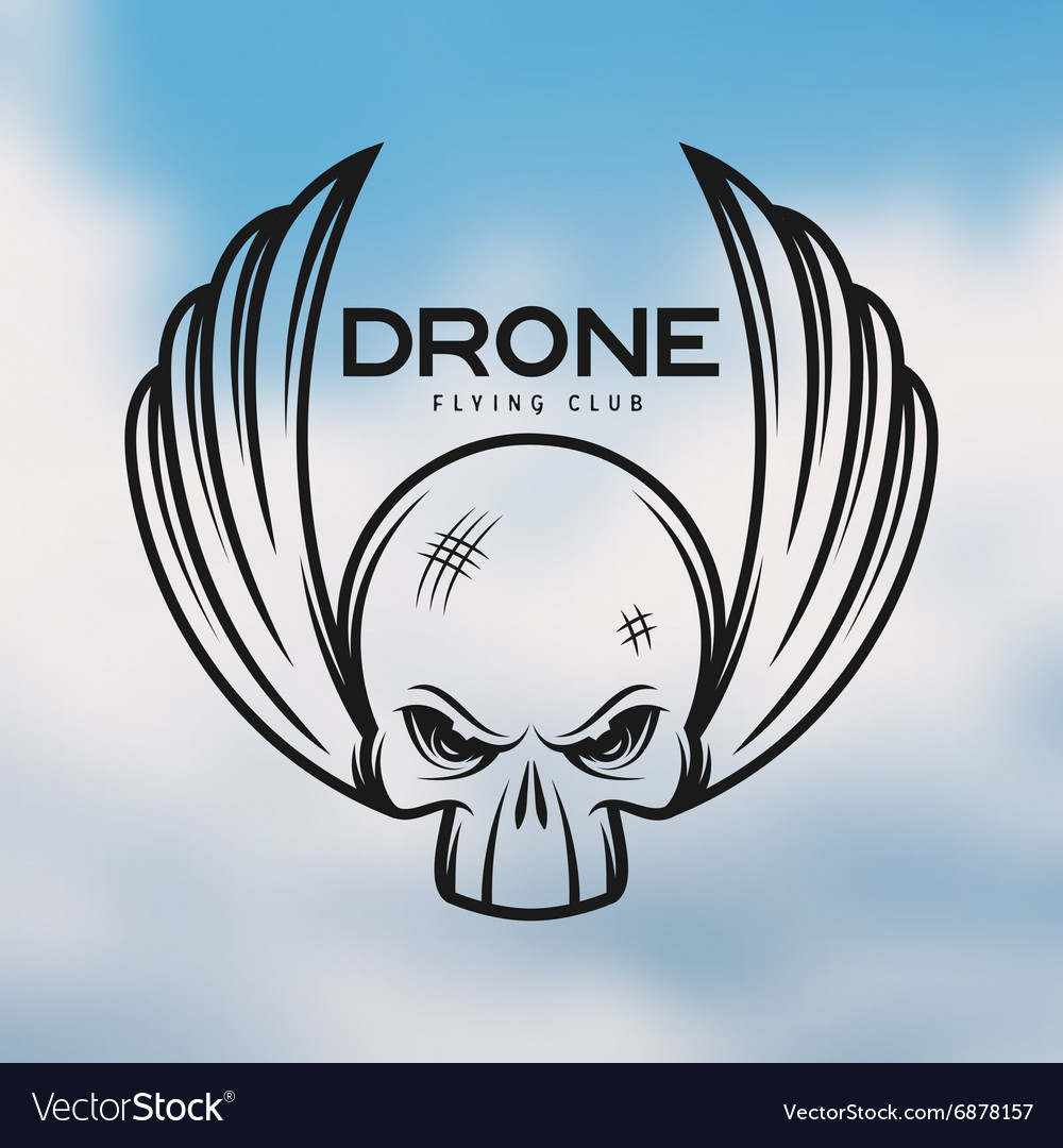 Drone flying club emblem Vintage