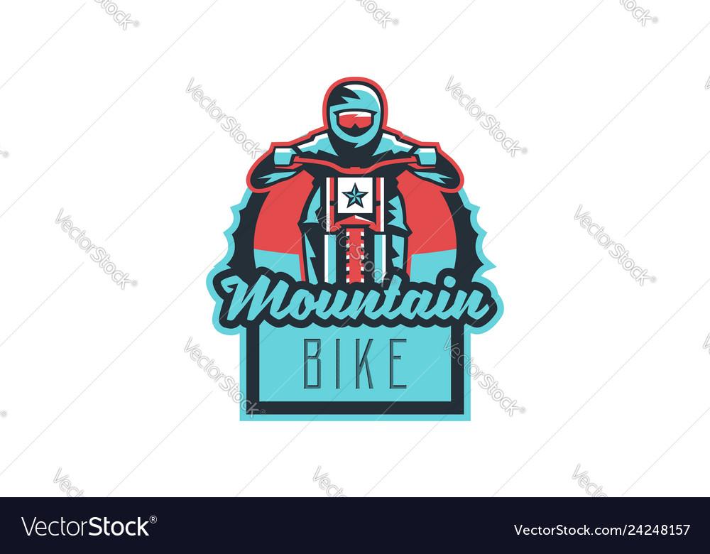 Emblem of a cyclist on a mountain bike sport bike