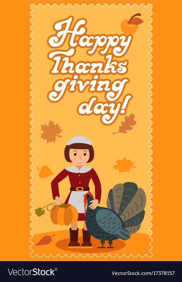 Girl turkey pumpkin happy thanksgiving day card