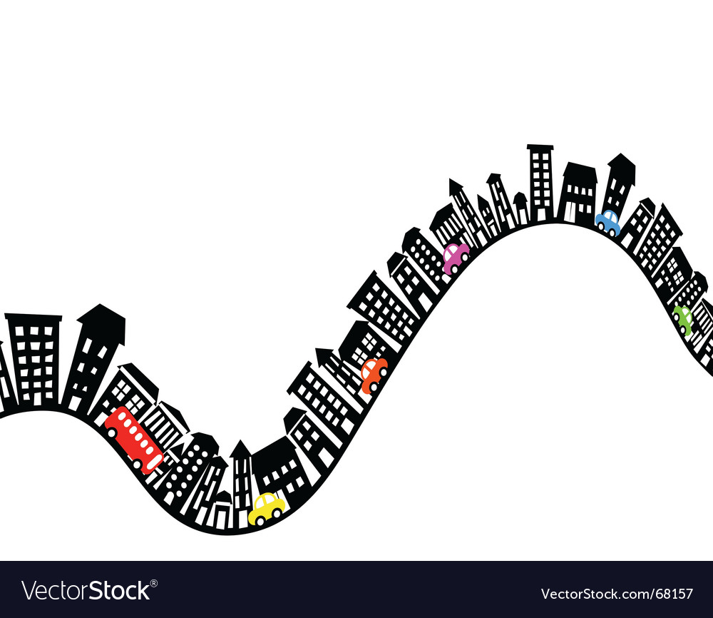 Hilly street vector image