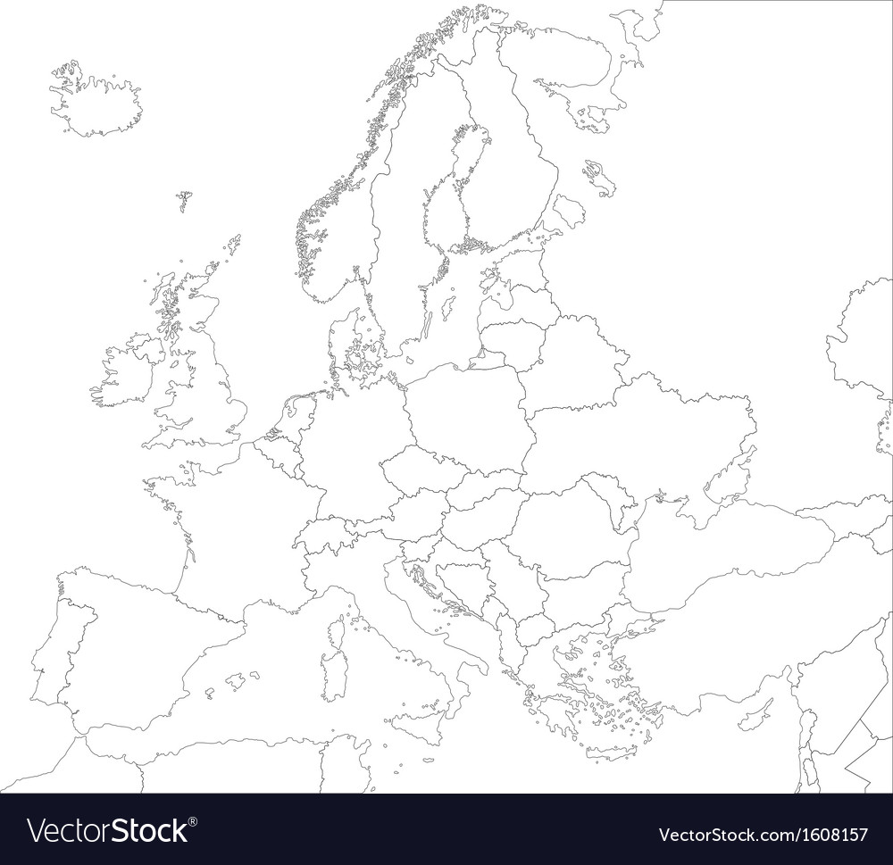 Outline Europe map Royalty Free Vector Image VectorStock