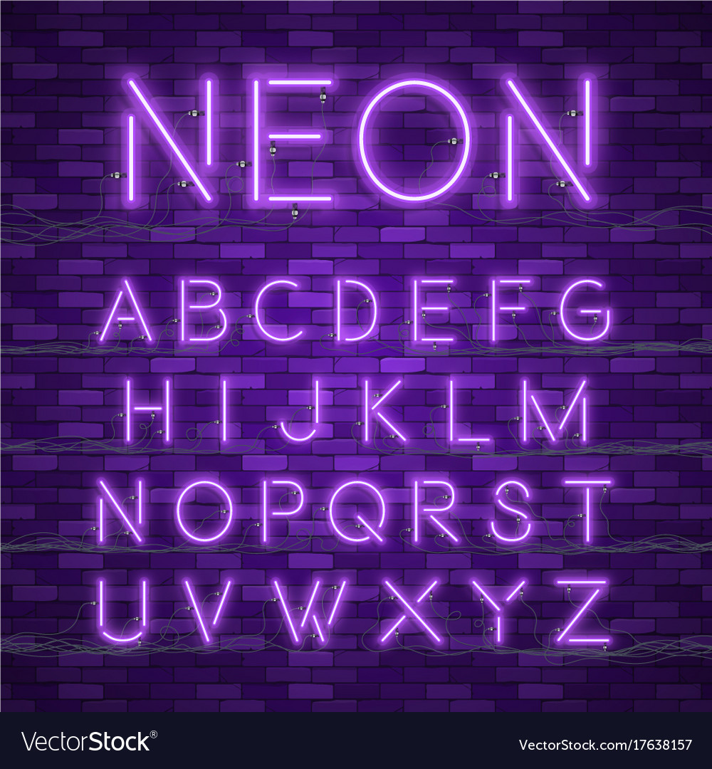 Realistic Neon Alphabet Glowing Font Royalty Free Vector