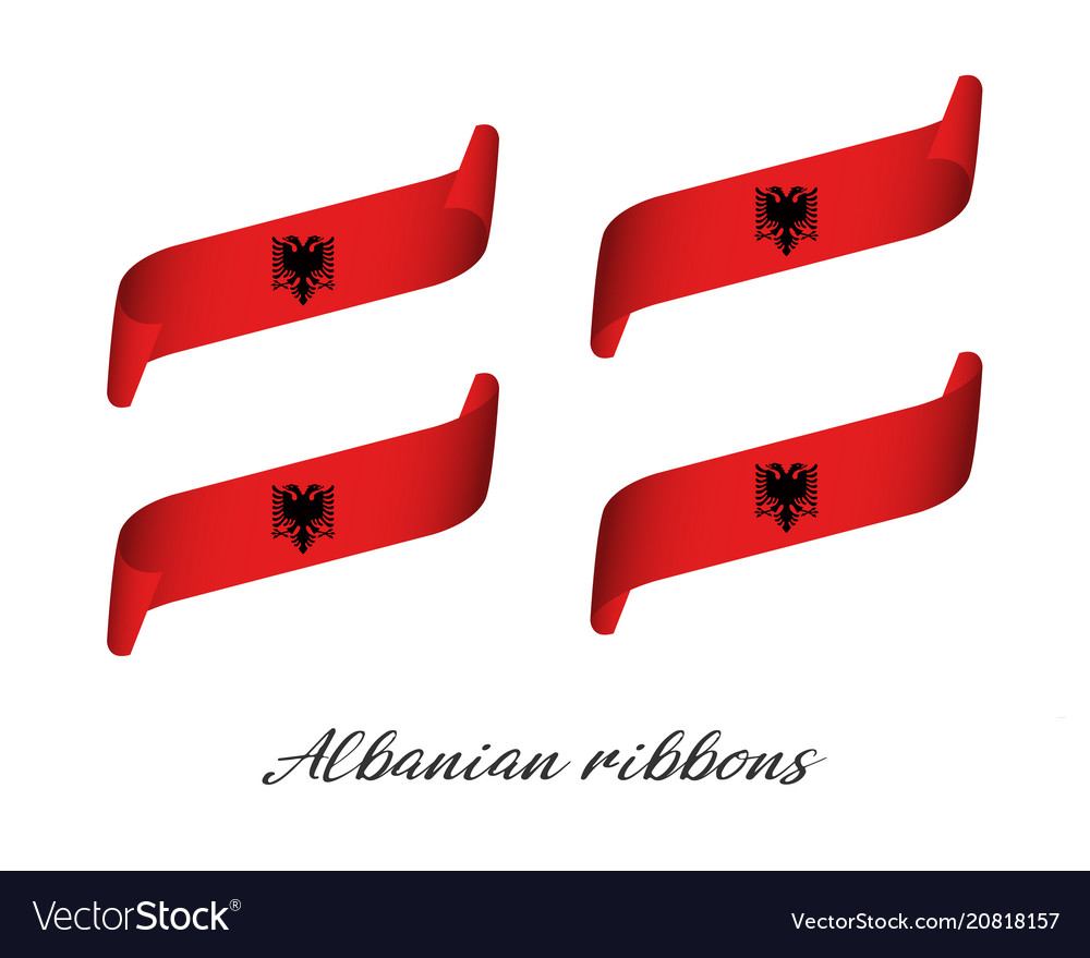 Set of four modern colored albanian ribbons