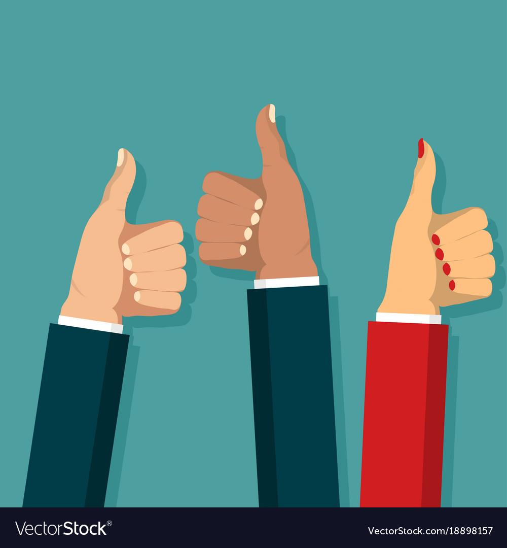 Thumb up symbol set flat style like sign
