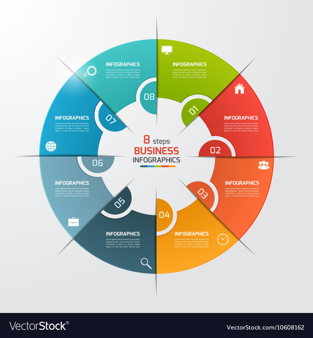 8 options pie chart circle infographic template vector image