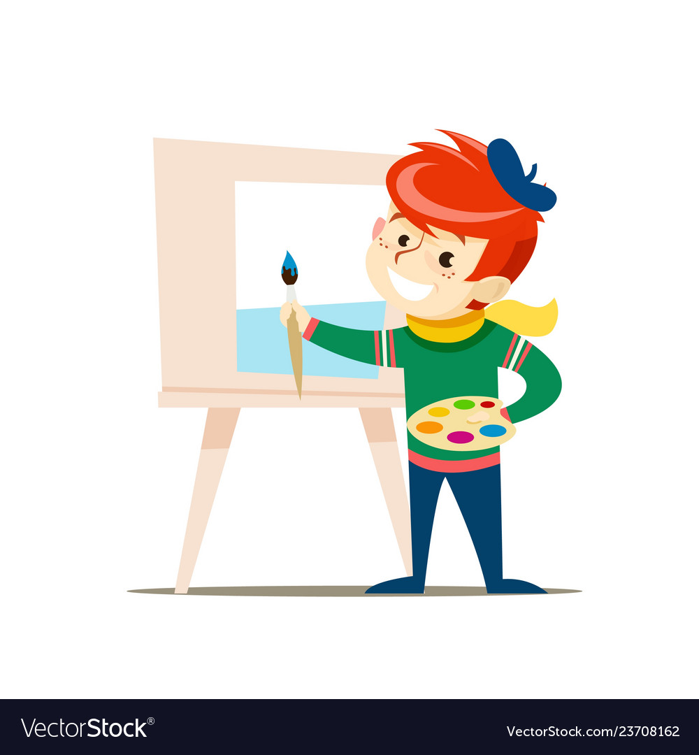 A young artist with a palette and a brush