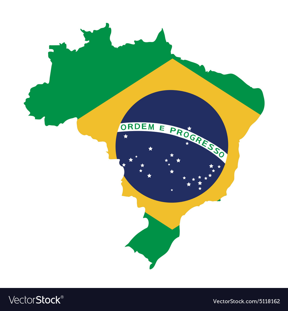Brazil map on brazil flag Royalty Free Vector Image