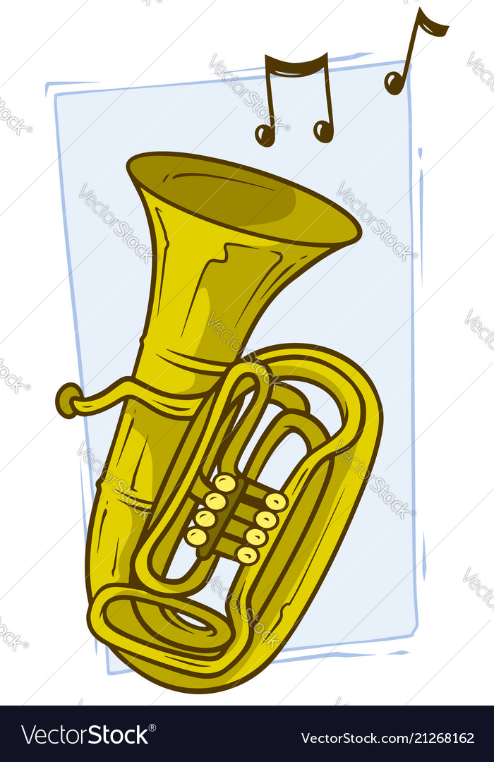 Cartoon yellow copper tuba with musical notes