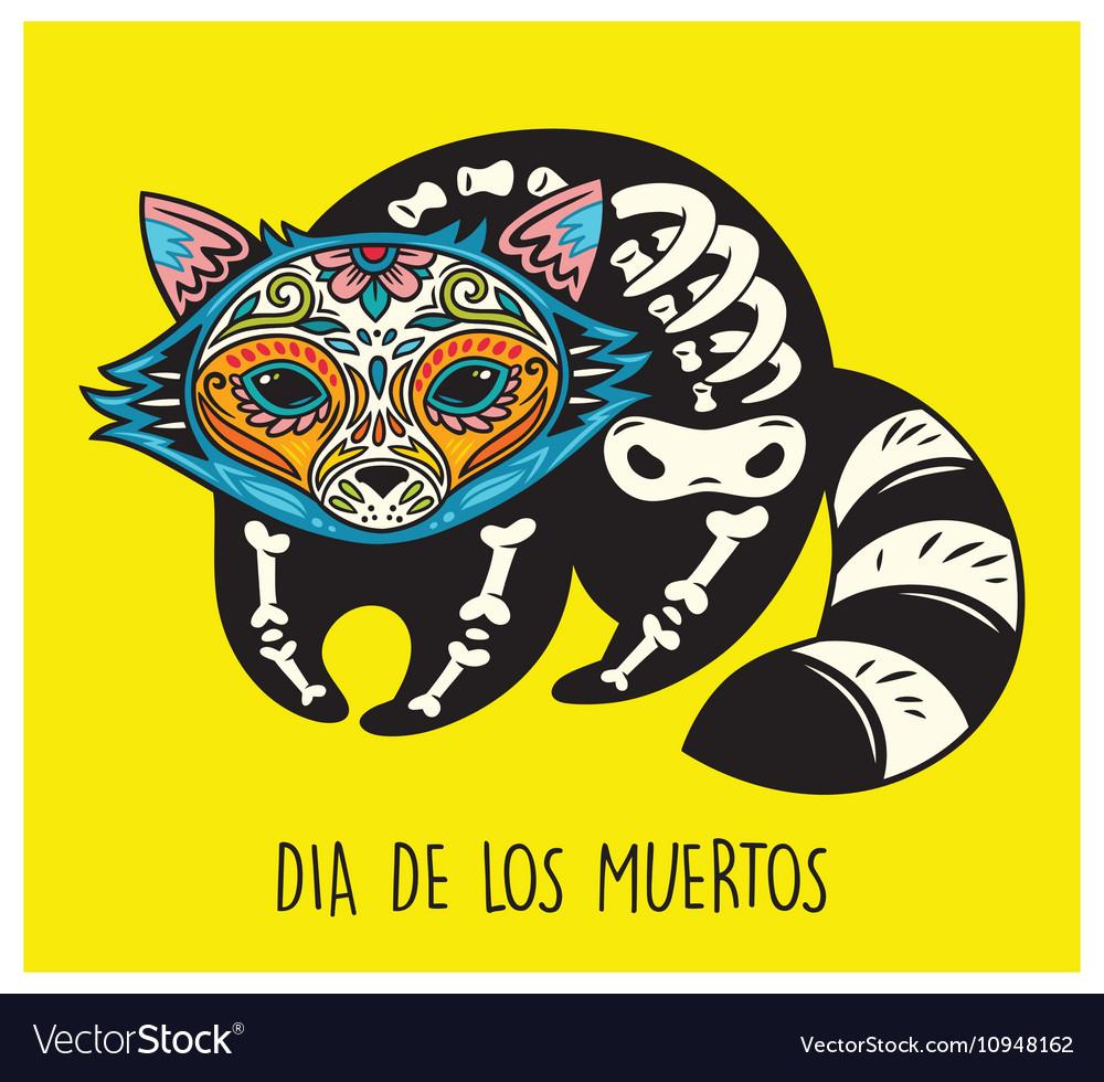 Dia de los muertos greeting card with sugar skull vector image m4hsunfo