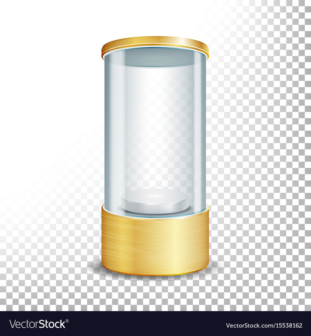 Empty glass showcase podium with spotlight and vector image