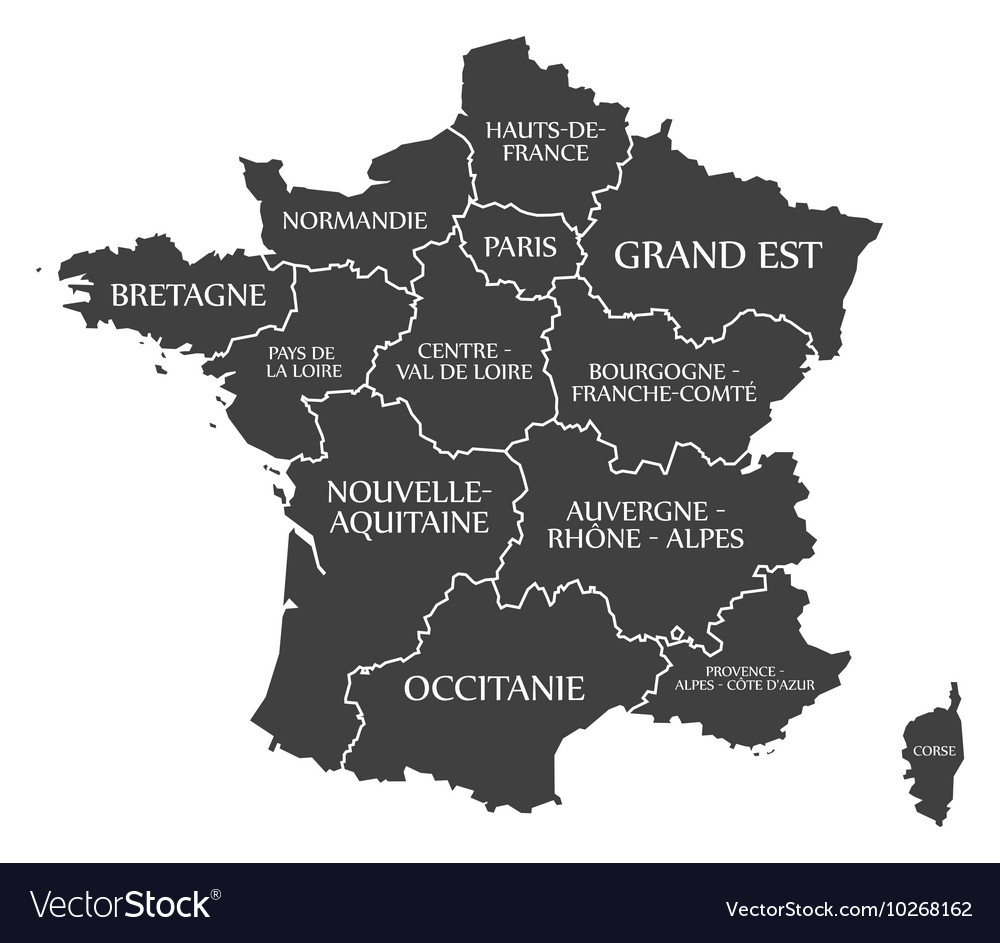 France map with labels black Royalty Free Vector Image