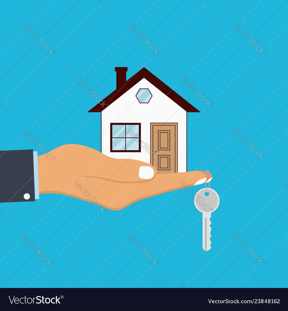 Hand palm holds house and key on finger