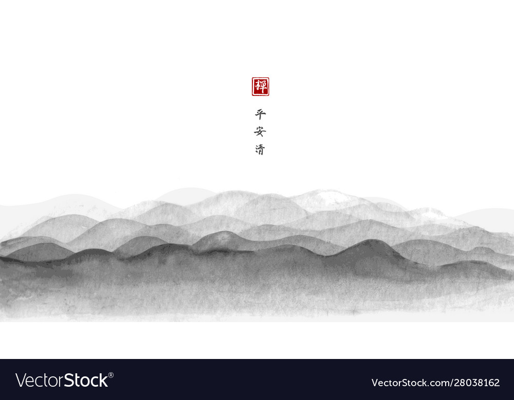 Hills silhouette landscape with mountains