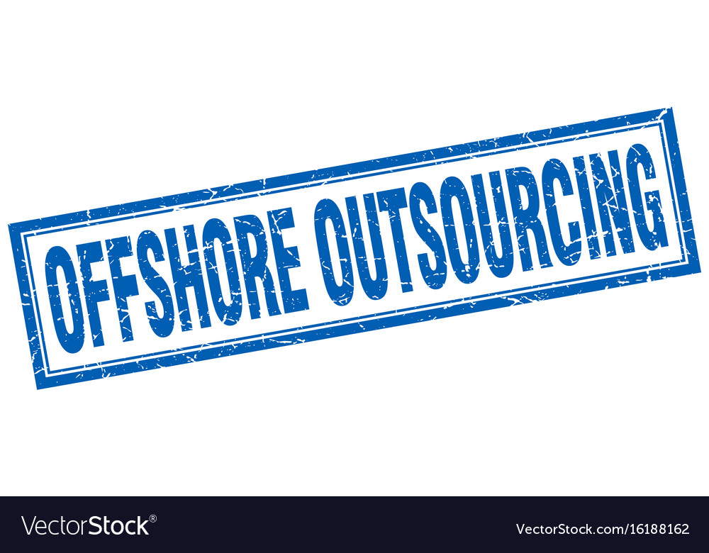Offshore outsourcing square stamp Royalty Free Vector Image