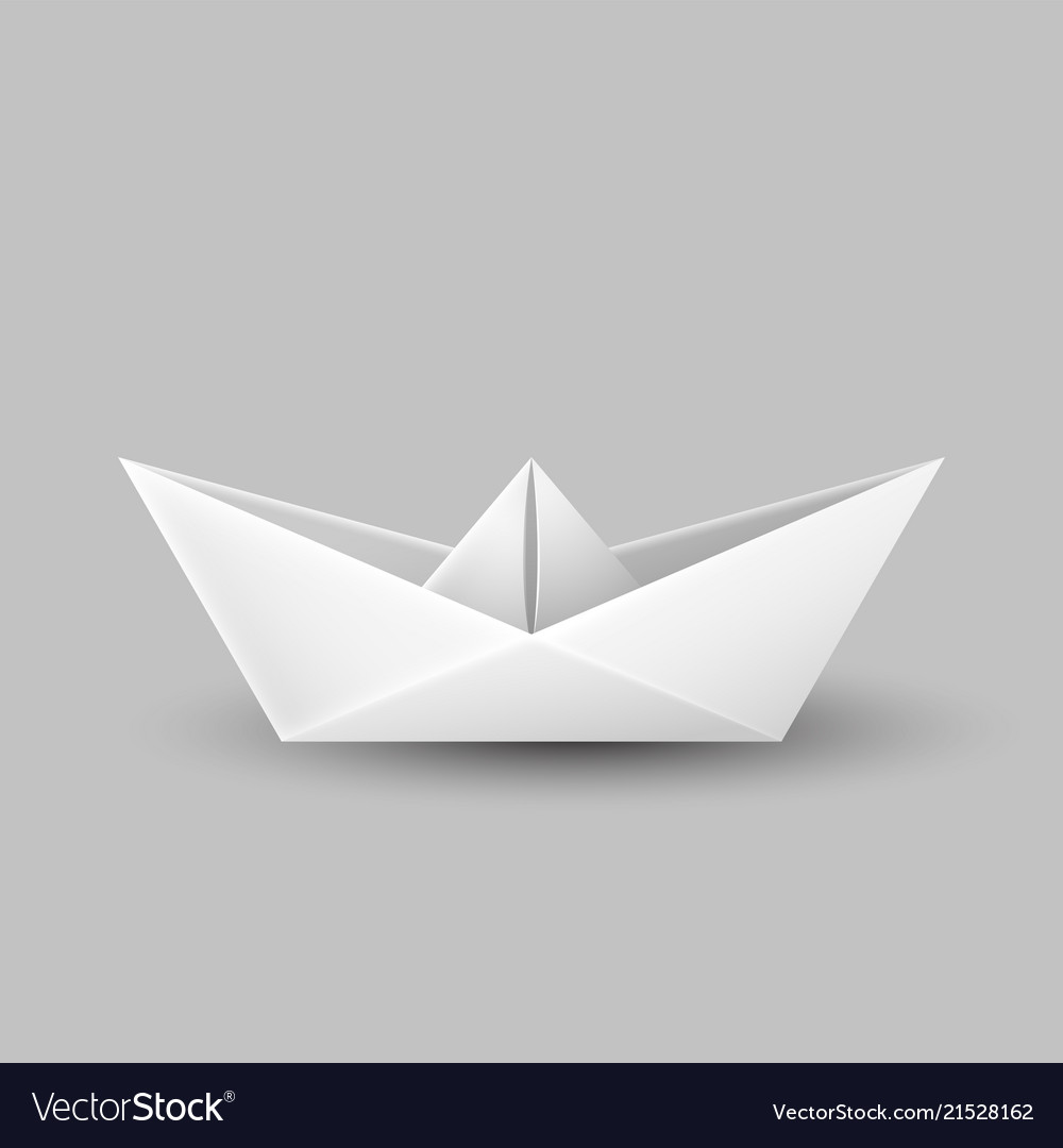 Origami Paper Boat Ship Isolated On Gray Vector Image